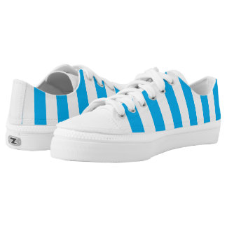 Blue Vertical Stripes Low-Top Sneakers