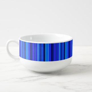 Blue vertical stripes soup mug