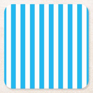 Blue Vertical Stripes Square Paper Coaster