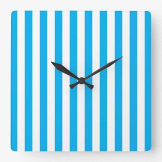 Blue Vertical Stripes Square Wall Clock