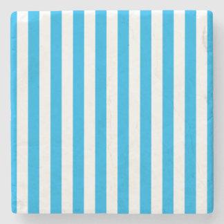 Blue Vertical Stripes Stone Coaster