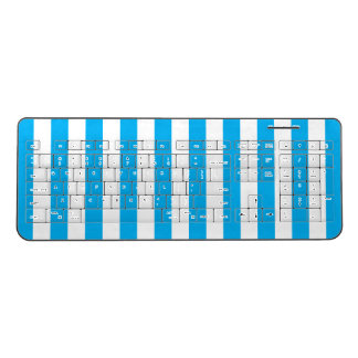 Blue Vertical Stripes Wireless Keyboard