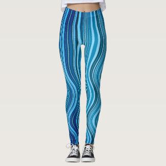 blue vertical waves - leggings