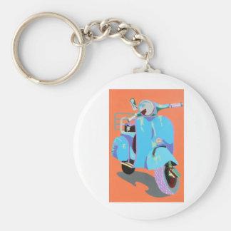 Blue Vespa Basic Round Button Keychain