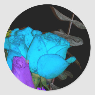 blue vibrance purple vibrance roses round sticker