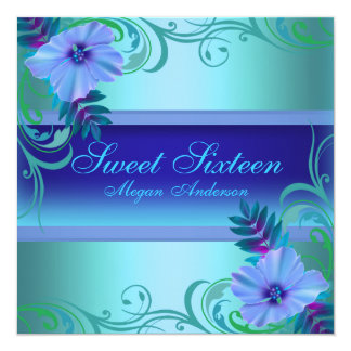 Blue Vibrant Flower Sweet Sixteen Invite