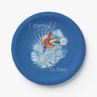 Blue Vibration Abstract 7 Inch Paper Plate