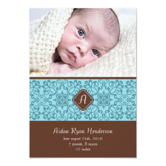 "Blue Victorian Baby Announcement 5"" X 7"" Invitation Card"