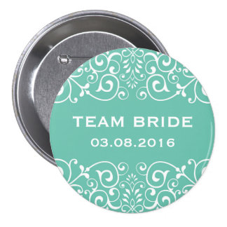 Blue Victorian Floral Border Team Bride Button