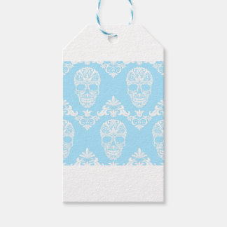 blue victorian skulls gift tags