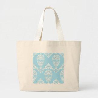 blue victorian skulls large tote bag