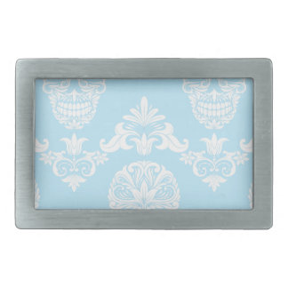 blue victorian skulls rectangular belt buckle