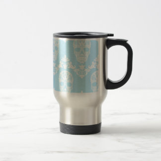 blue victorian skulls travel mug