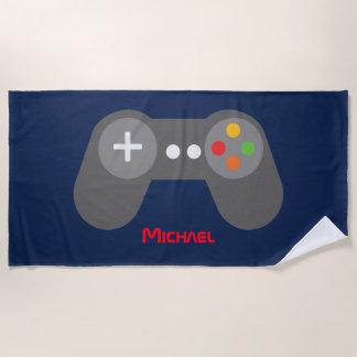 Blue Video Game Controller Beach Towel