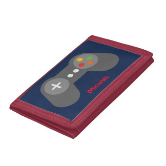 Blue Video Game Controller Trifold Wallet