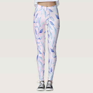 Blue vines leaves pale pink leggings