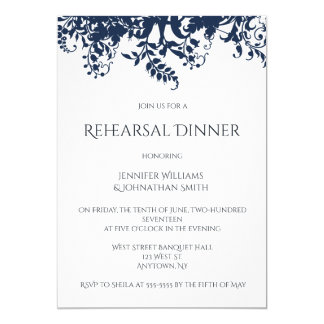 Blue vines rehearsal dinner invitations