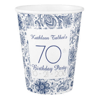 Blue Vintage 70th Birthday Party Paper Cup