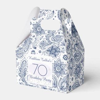 Blue Vintage 70th Birthday Thank You Favor Box