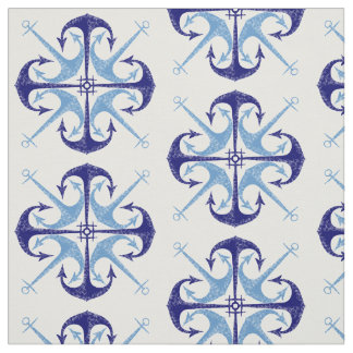 Blue vintage anchor nautical boy's room fabric