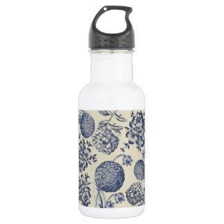 Blue Vintage Artwork Print Flower Antique 532 Ml Water Bottle