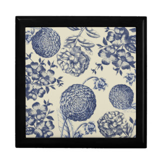 Blue Vintage Artwork Print Flower Antique Gift Box