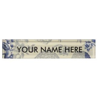 Blue Vintage Artwork Print Flower Antique Name Plate