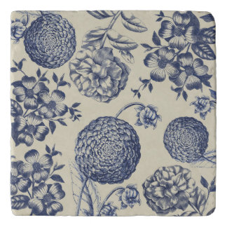 Blue Vintage Artwork Print Flower Antique Trivet