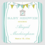 Blue vintage banners baby shower stickers