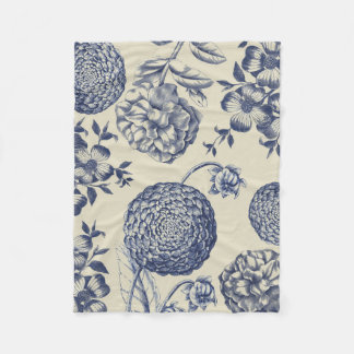 Blue Vintage Botanical Art Print Floral Fleece Blanket