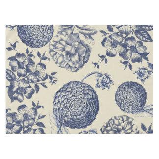 Blue Vintage Botanical Art Print Floral Tablecloth