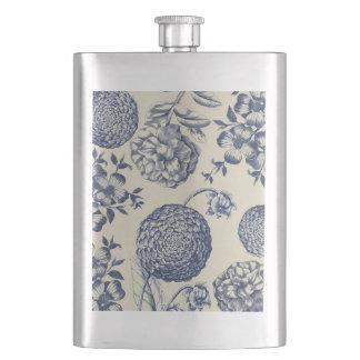 Blue Vintage Botanical Artwork Print Chic Hip Flask