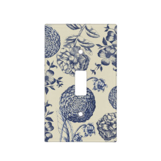 Blue Vintage Botanical Artwork Print Chic Light Switch Cover