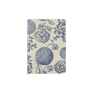 Blue Vintage Botanical Artwork Print Chic Passport Holder