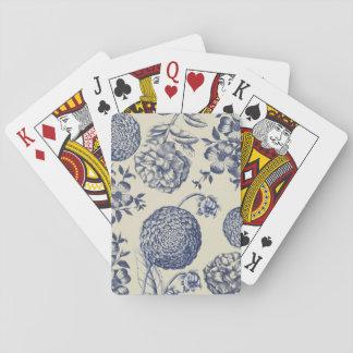 Blue Vintage Botanical Artwork Print Chic Poker Deck