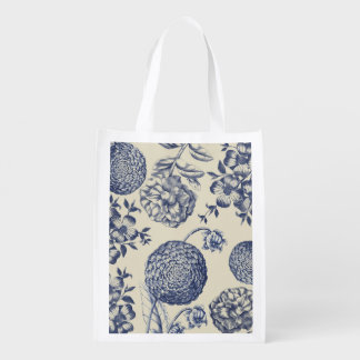 Blue Vintage Botanical Artwork Print Chic Reusable Grocery Bag