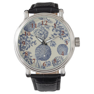 Blue Vintage Botanical Artwork Print Chic Watch