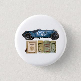 Blue Vintage Car 1 Inch Round Button