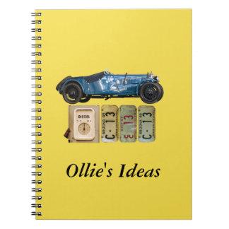 Blue Vintage Car Spiral Notebook