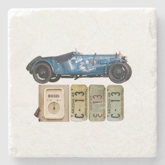 Blue Vintage Car Stone Beverage Coaster