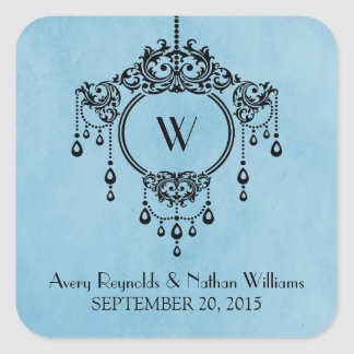 Blue Vintage Chandelier Wedding Stickers
