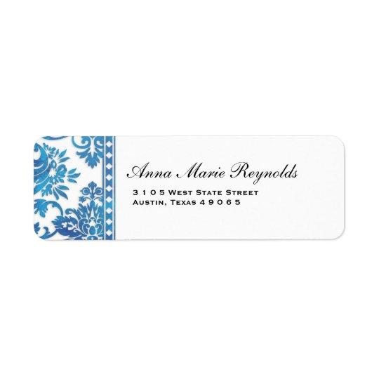 Blue Vintage Damask Lace Fancy Return Address Label
