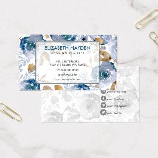 Blue Vintage Floral Business Card