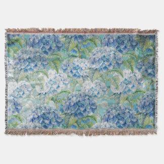 Blue Vintage floral Hydrangea Flower pattern Throw Blanket