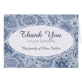 Blue Vintage Floral Pattern 2 Sympathy Thank You Card