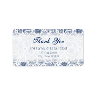 Blue Vintage Floral Pattern Family Thank You Label