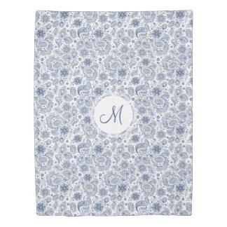 Blue Vintage Floral Pattern Monogram Duvet Cover