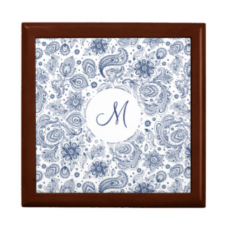 Blue Vintage Floral Pattern Monogram Gift Box