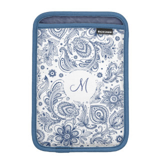 Blue Vintage Floral Pattern Monogram iPad Sleeve