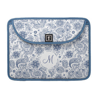 Blue Vintage Floral Pattern Monogram Mac Sleeve